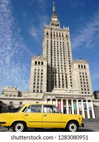 Palace of Culture and Science and classic Polish car Fiat 125p. September 2018, Warsaw, Poland