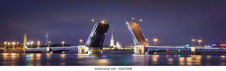 Palace drawbridge in Saint Petersburg