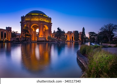 Palace of Fine Art during beautiful twilight in the evening, San Francisco