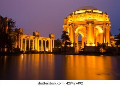 Palace of Fine Arts glowing at dusk. San Francisco, California, USA.