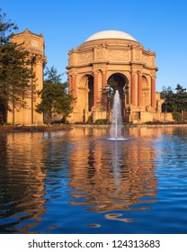 Palace of Fine Arts with lagoon and fountain in San Francisco, California.