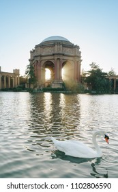 The Palace of Fine Arts in the Marina District of San Francisco, California, is a monumental structure originally constructed for the 1915 Panama-Pacific Exposition in order to exhibit works of art pr