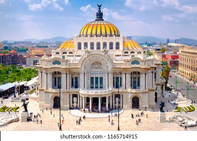 The Palace of Fine Arts in Mexico City - Aerial view with unrecognizable people