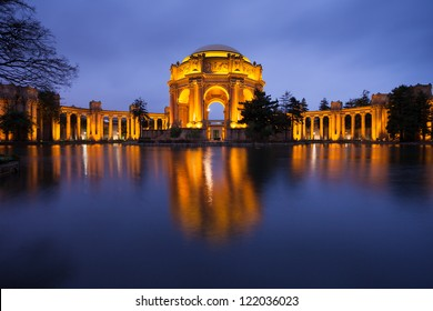Palace of Fine Arts Museum at Night in San Francisco.