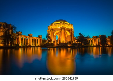 Palace of Fine Arts Museum at Night in San Francisco, California, USA