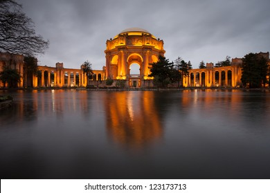 Palace of Fine Arts Museum at on a cloudy night in San Francisco.