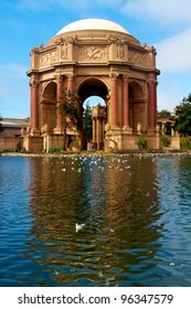 Palace of fine arts in San Francisco with reflection in water