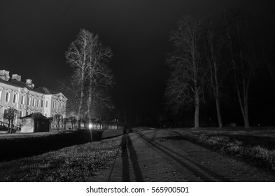 palace and foggy night