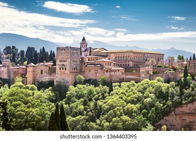 Palace and fortress complex Alhambra located in Granada, Andalusia, Spain