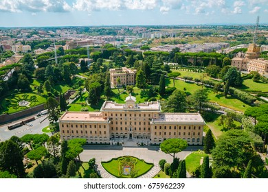 Palace of the Governorate and Vatican garden from Saint Peter's Cathedral in Vatican city