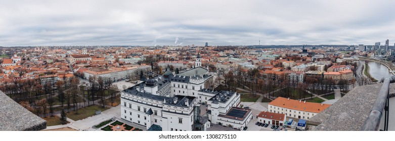 Palace of the Grand Dukes of Lithuania, aerial city view, Vilnus, Lithuania, wide panorama