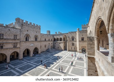 The Palace of the Grand Master of the Knights of Rhodes , also known as the Kastello , is a medieval castle in the city of Rhodes, on the island of Rhodes in Greece. The courtyard.