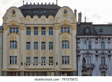 Palace of the Hungarian discounting and foreign exchange bank facade in Bratislava Old Town on Main Square, Slovakia.