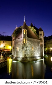 Palace of Isle  by night at Annecy in France