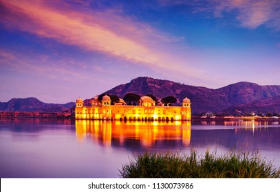 The palace Jal Mahal (Water Palace) was built during the 18th century in the middle of Man Sager Lake, Jaipur, Rajasthan, India, Asia