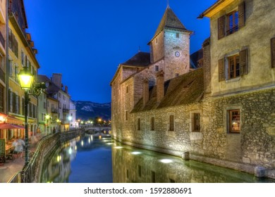 Palace L Ile on the Thiou Canal in Old Annecy, France, HDR
