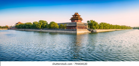 The Palace Museum (Forbidden City). Turret, located in Beijing, China.