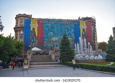 The Palace of the National Military Circle, also known as the Officers' Circle Palace (Romanian:Cercul Militar Național). Celevrating the Centenary - Bucharest, Romania 20.05.2019