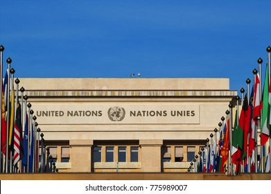 Palace of Nations - seat of the United Nations in Geneva, Switzerland. Flags of all countries. (written in English and french - United Nations)