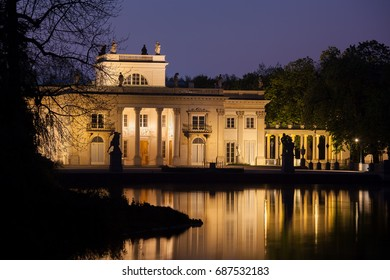 Palace on the Isle at night in Royal Lazienki Park in Warsaw, Poland, Neoclassical architecture, city landmark