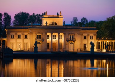 Palace on the Isle at twilight in Royal Lazienki Park in Warsaw, Poland, Neoclassical architecture, city landmark