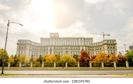Palace of Parliament also known as the People's House in Bucharest, capital of Romania, built during the communist regime with the Romanian People's Salvation Cathedral on the back