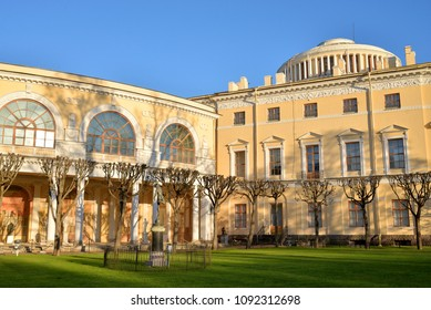 Palace in Pavlovsk at sunny spring evening, near St.Petersburg, Russia.