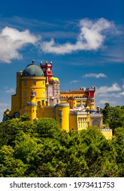 Palace of Pena in Sintra. Lisbon, Portugal. Travel Europe, holidays in Portugal. Panoramic View Of Pena Palace, Sintra, Portugal. Pena National Palace, Sintra, Portugal.