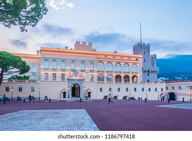 Palace of Prince of Monaco during sunset
