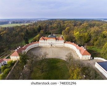 Palace of Raczynski residence was built in the second half of the eighteenth century in Rogalin, Poznan, Poland. Aerial view.