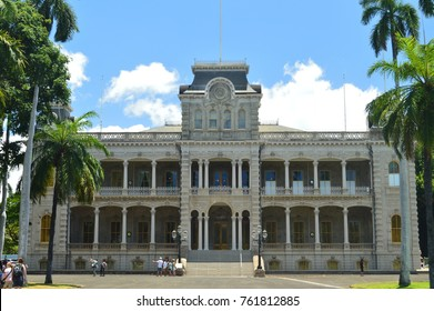 The Ê»Iolani Palace was the royal residence of the rulers of the Kingdom of Hawaii beginning with Kamehameha III under the Kamehameha Dynasty (1845). July 11, 2017. Oahu, Hawaii, USA, EEUU.