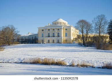 Palace of the Russian emperor Paul I in the February afternoon. Pavlovsk, Russia