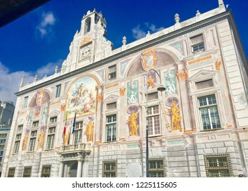 Palace of Saint George, built in 1260 (Palazzo San Giorgio). Palace in Genoa, situated in the Piazza Caricamento. Beautiful view of facade. Marco Polo, Blue sky. (Genova, Capital of Liguria, Italy)
