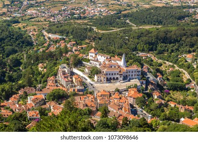 Palace of Sintra (Palacio Nacional de Sintra) in Sintra in a beautiful summer day, Portugal