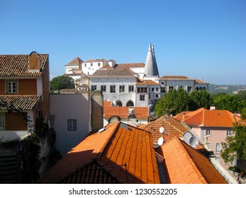 Palace of Sintra (Palacio Nacional de Sintra) in Sintra in a sunny, summer day, Portugal, Europe