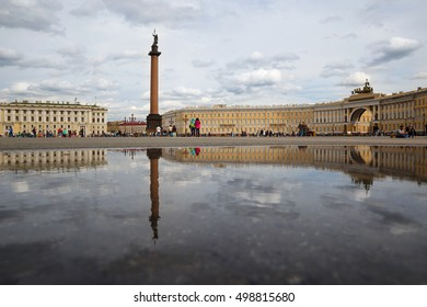 Palace Square, Alexander Column and the General Staff building summer day, August 13, 2016 in St. Petersburg, Russia