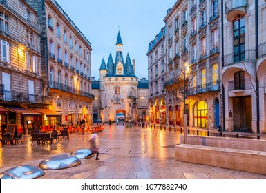 Palace Square at night in Bordeaux, New Aquitaine, France