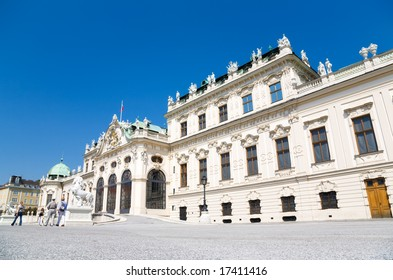 Palace in Vienna Austria. Wide angle view.