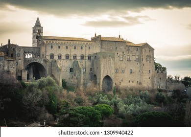 Palace in Viterbo, northern Latium, Italy. It is one of the most important monuments in the city, situated alongside the Duomo di Viterbo. Ancient construction of the 1200s. 13th century after Christ.