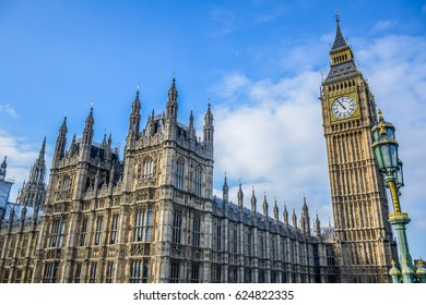 The Palace of Westminster with Big Ben clock tower in London, England