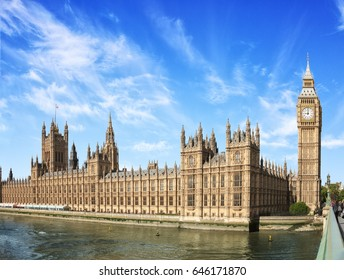 The Palace of Westminster with Big Ben (Elizabeth Tower) at  sunny  morning, London, England, UK