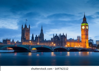 The Palace of Westminster Big Ben at night, London, England, UK