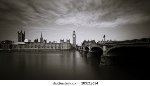 Palace of Westminster and Big Ben seen from South Bank, long exposure shot