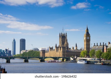 The Palace of Westminster Big Ben at sunny day, London, England, UK