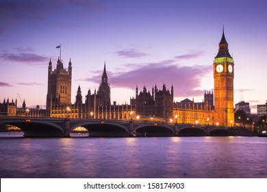 The Palace of Westminster Big Ben at twilight