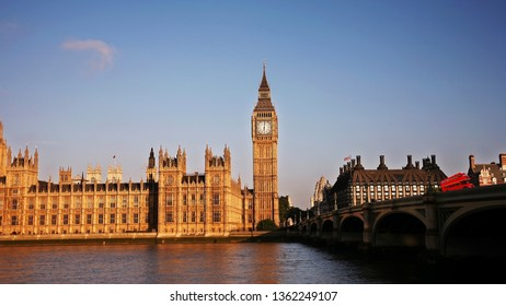 Palace of Westminster and Westminster Bridge over blue sky seen from South Bank