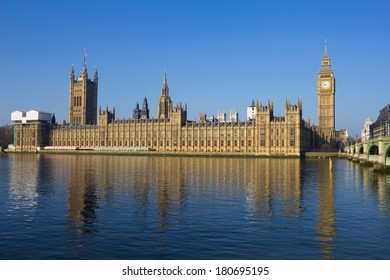 Palace of Westminster with reflections in the water