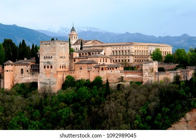 The palace-fortress of the Alhambra in Granada, Spain built by the Moors in an elaborate Islamic style of architecture, is a UNESCO world heritage site and one of the world's most famous buildings.