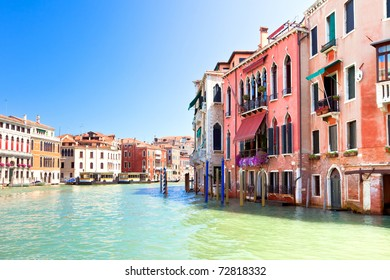 Palaces on Grand Canal Venice Italy. Vibrant color summer shot. another Venice shots available