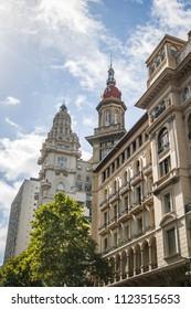 Palacio Barolo (Barolo Palace) and La Inmobiliaria buildings - Buenos Aires, Argentina
